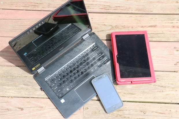 technology laptop, mobile phone